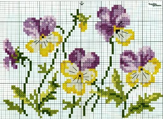 """Вышивка крестом в цветочную коллекцию — """"Анютины глазки"""""""