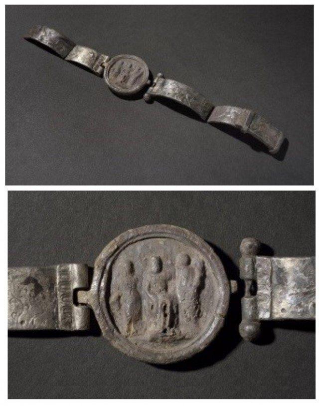 А вот это уже мужской серебряный браслет – на центральном диске изображен Юпитер, сидящий между Фортуной (богиня удачи, слева) и Викторией (богиня победы, справа). На самом браслете – сцены охоты пантеры на оленей. Возможно, это награда отставника-ле Клады, археология, интересно, история, сокровища