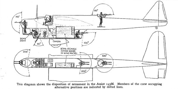 Расположение огневых точек на Amiot 143