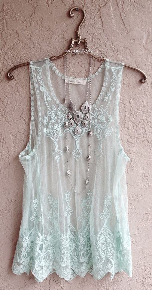 ☮ American Hippie Bohemian Boho Style ~ Summer Mint Green Sheer embroidered Camisole. Love it!:
