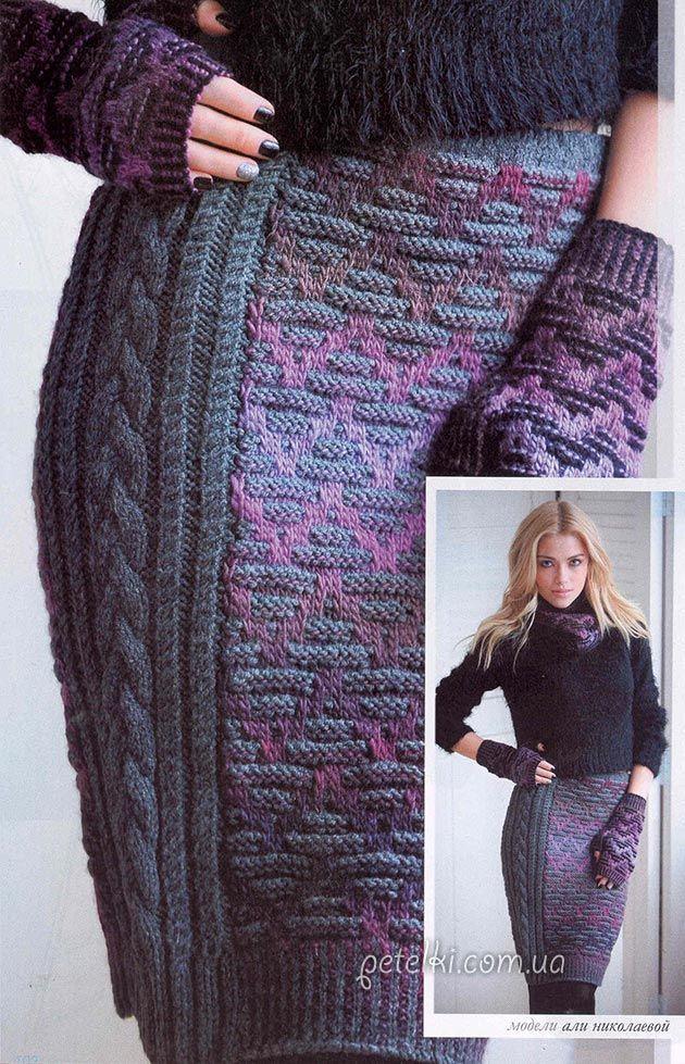 Вязаные  теплые юбки спицами и крючком, модели с описанием и схемами