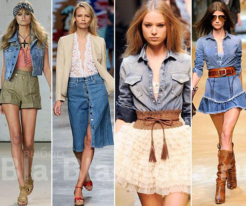 Деним: жилет Twenty8Twelve, юбка Stella McCartney, рубашка D&G, юбка и рубашка D&G