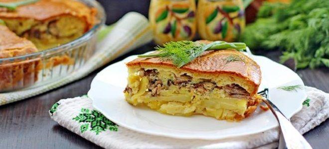 Пирог с рыбной консервой и картошкой заливной