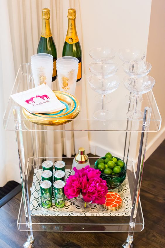 30 lucite rolling bar cart can easily fit any space