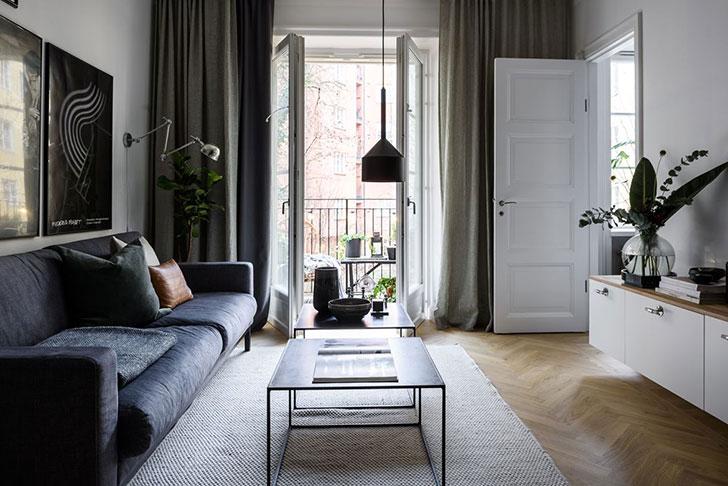 Небольшая квартира музыканта в Стокгольме (44 кв. м)