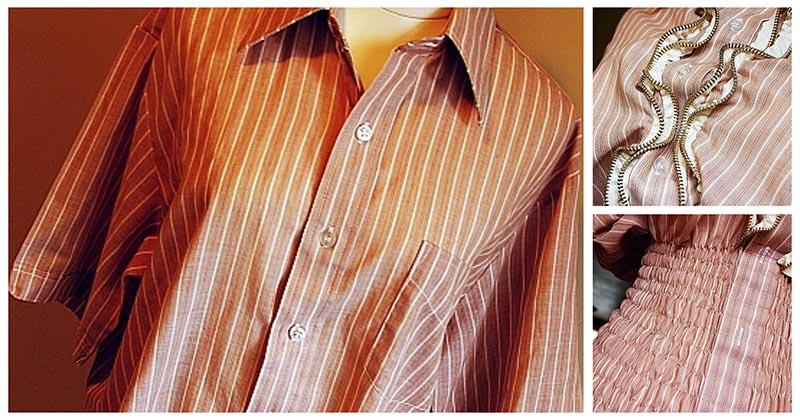 Простая рубашка в руках мастерицы трансформируется в нечто очень женственное