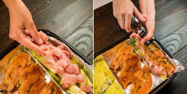 тушёная курица с кабачками в сметане: ингредиенты на противне