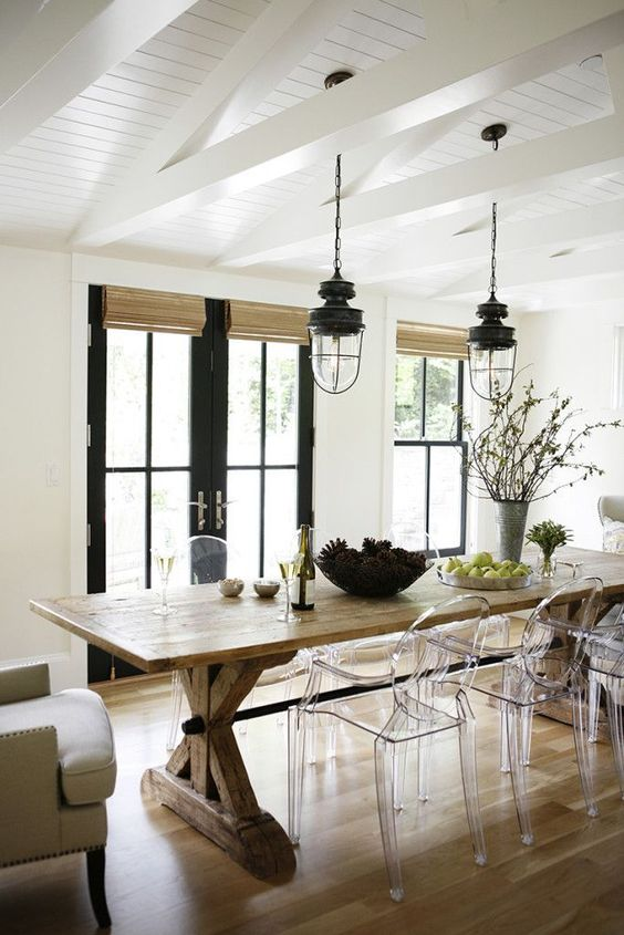02 a cozy rustic dining space with acrylic chairs