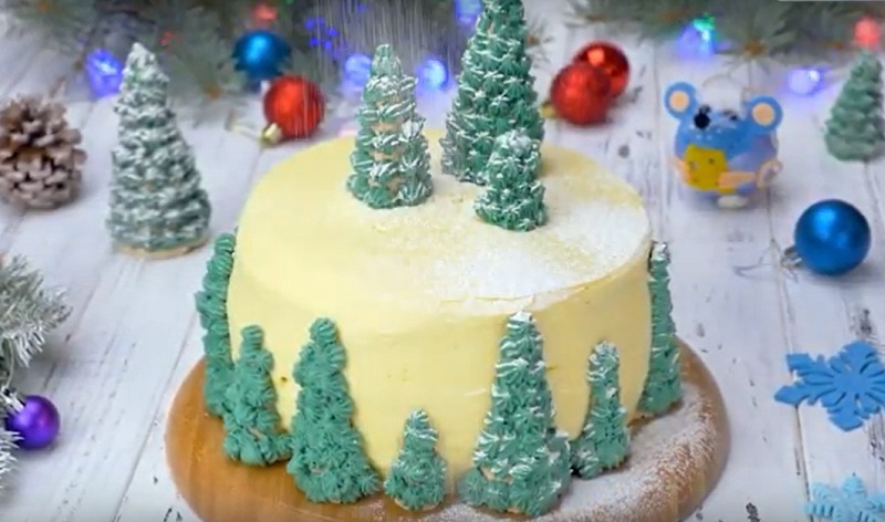 Ванильный торт «Заснеженный лес»: зимняя страна чудес