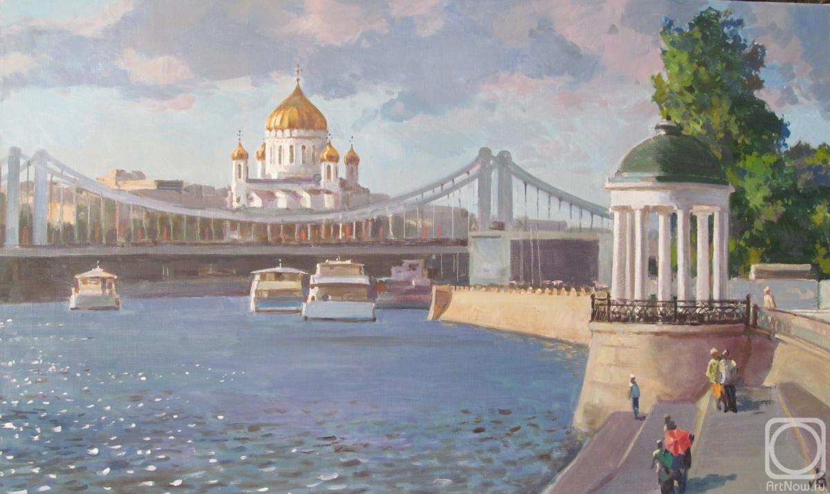 Картина маслом на холсте. Лаповок Владимир. Москва-река у ЦПКО