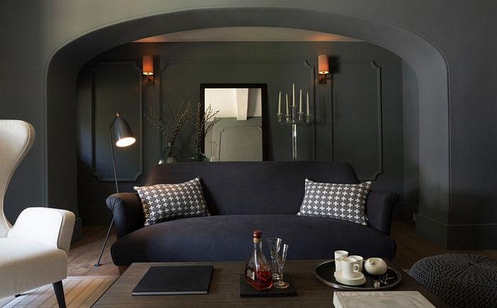 Роскошная гостиная в мужском стиле