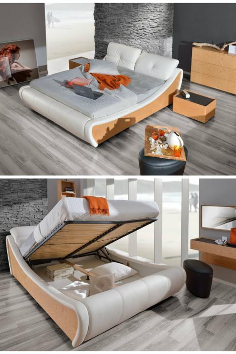 Стильная модель кровати с подъемным механизмом. | Фото: mayertrade.com.ua.