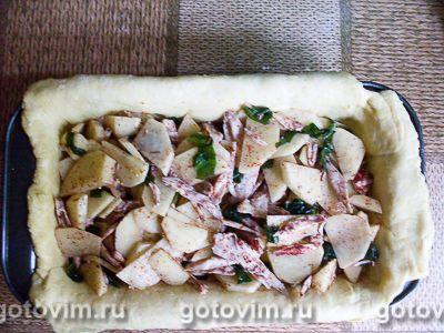 Песочный пирог с курицей, картофелем и черемшой, Шаг 07