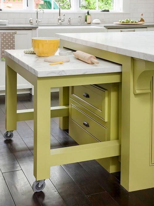 Выдвижные столы реально экономят место дизайн, интерьер, маленькая кухня, полезные советы для дома, фото