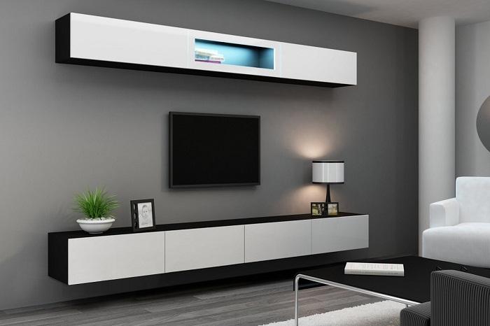 Подвесная мебельная стенка в минималистском стиле украсит современный интерьер.