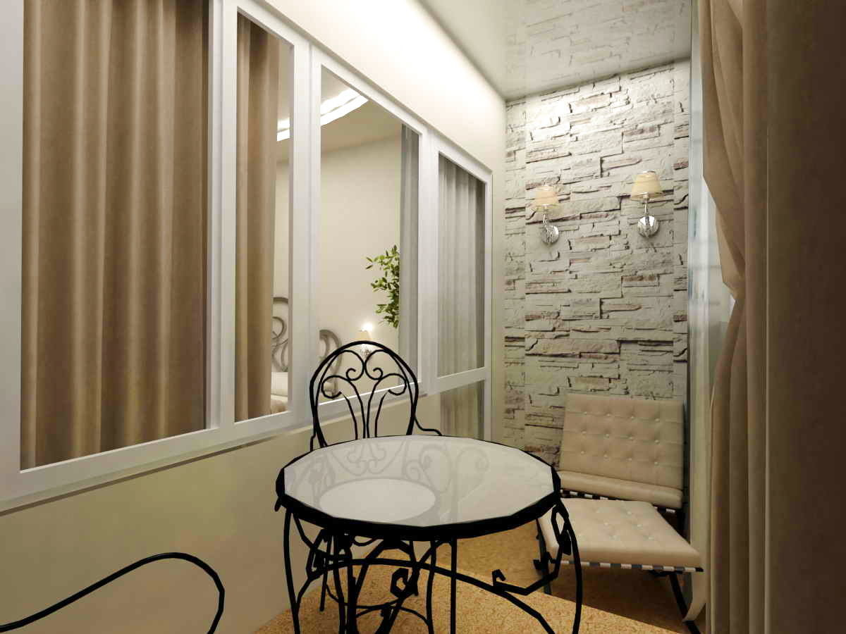 Балкон, веранда, патио в цветах: серый, светло-серый, лимонный, коричневый, бежевый. Балкон, веранда, патио в стиле неоготика.