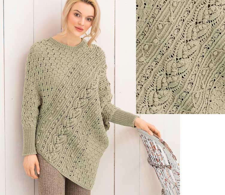 Пуловер – пончо спицами с рукавами.