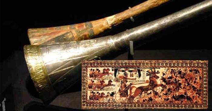 Серебряная труба Тутанхамона с деревянной вставкой. \ Фото: ancient-origins.net.