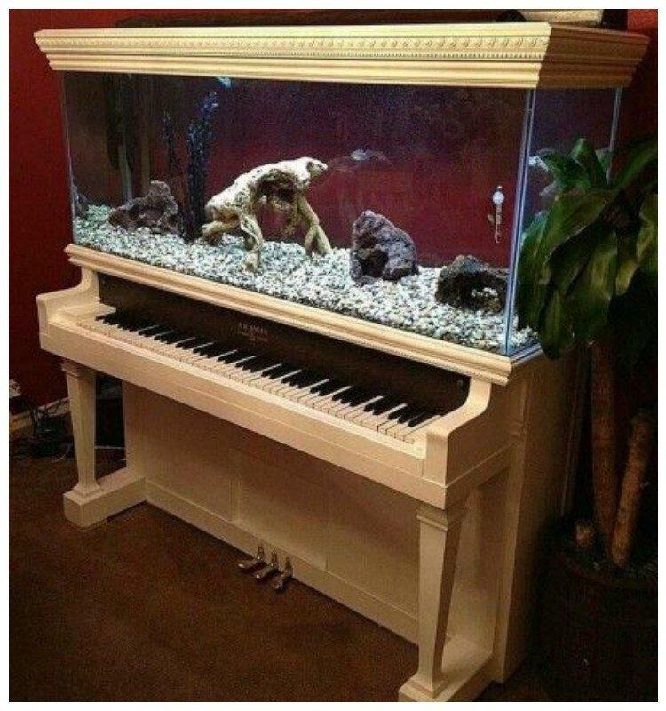 2. Пианино-аквариум Фабрика идей, переделки, пианино и рояли, своими руками