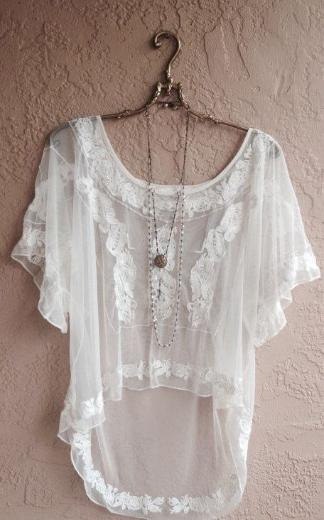 White Embroidered Sheer hi low peasant blouse: