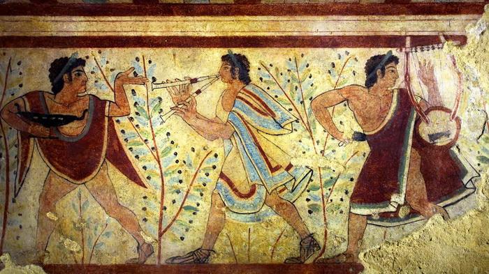 Фреска некрополя города Тарквинии с изображением двойной флейты