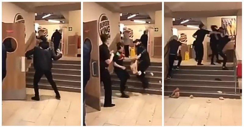 Драка сотрудников Burger King с дерзким клиентом бургер кинг, в мире, видео, драка, киргизия, клиент, потасовка