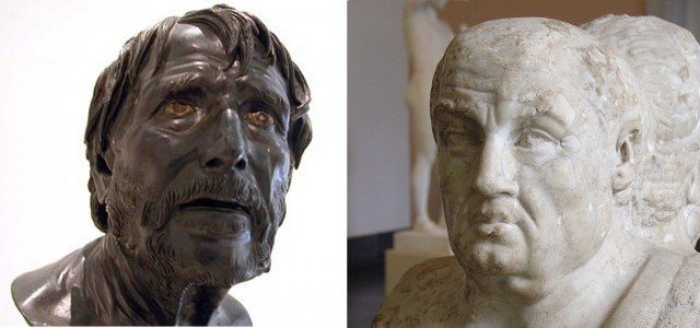 Слева бюст псевдо-Сенеки, именно этот бюст часто фигурирует в учебниках истории и философии, а вот справа – его настоящее лицо. Клады, археология, интересно, история, сокровища