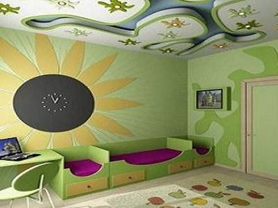 Фото 17 — Дизайн потолка в детской