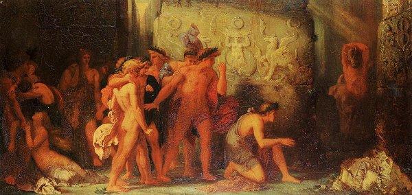 Гюстав Моро «Афиняне, привезенные к минотавру»