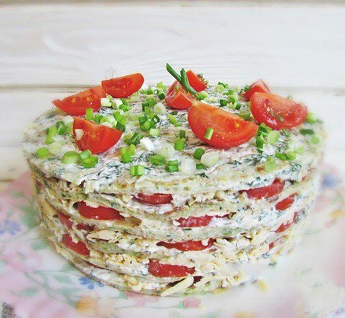 Невероятно вкусный закусочный торт из кабачков