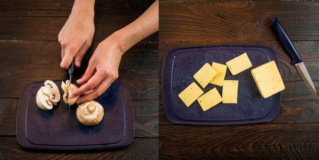 запечённая с грибами грудка: грибы и сыр