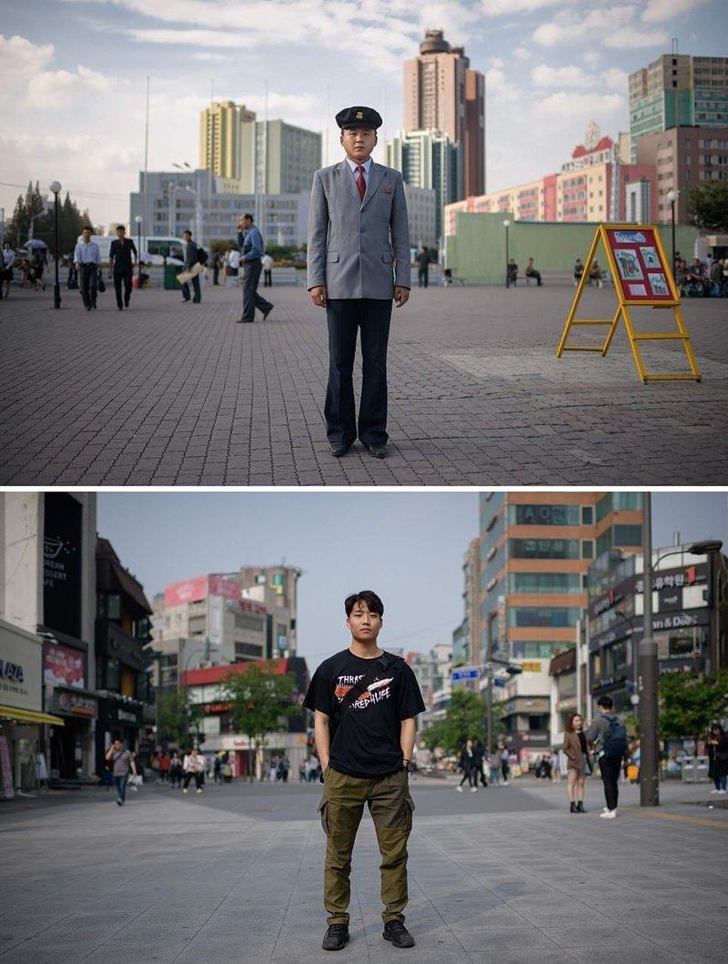 Вверху — северокорейский студент на площади в Пхеньяне. Внизу — студент в районе Синчон, Сеул кндр, люди, северная корея, сравнение, страны, южная корея