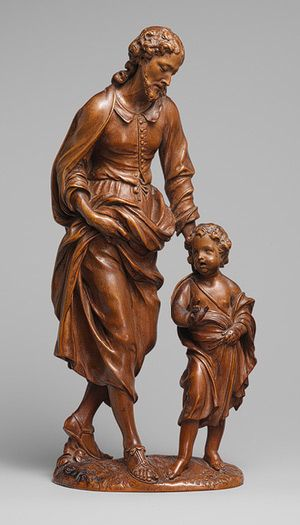 Attributed to Nicolaas van der Veken: Saint Joseph and the Christ child,17th century. Made by Van der Veken,flemisih 1637-1709. Ivory and boxwood carvings.