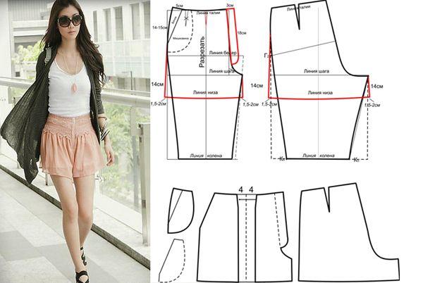 Выкройка легкой юбки шорты