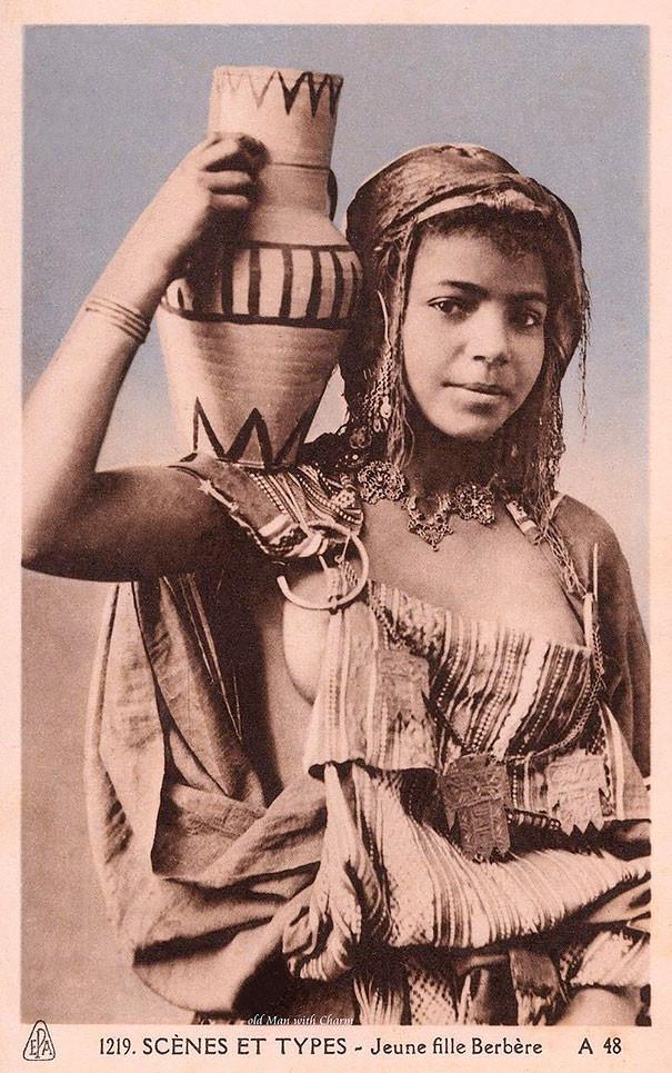 Берберская девушка винтаж, женщины, красота, открытки, фото