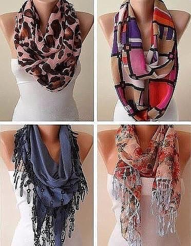Много идей с платками и шарфами. Возьмите на заметку, пригодится