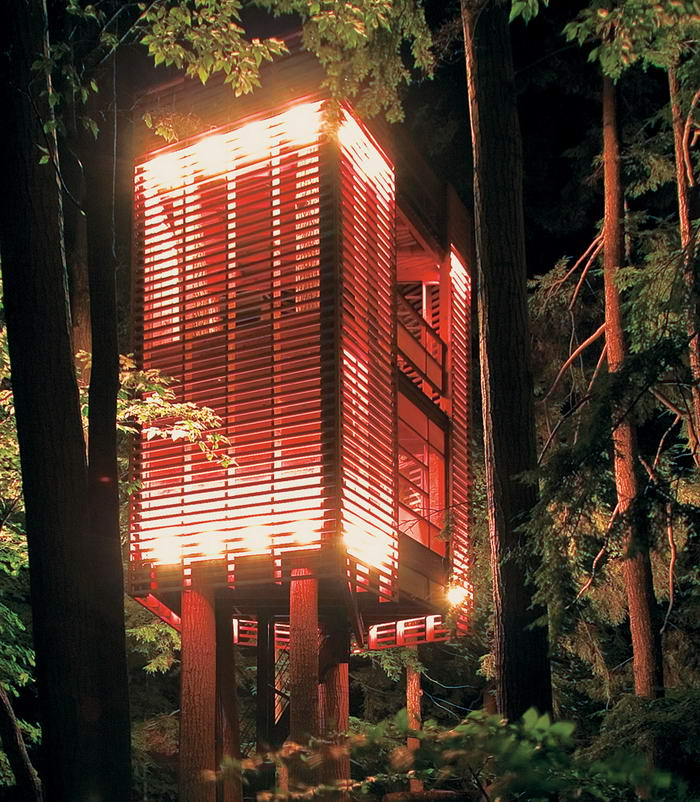 6. Дом – «Четыре дерева» от Лукаша Коса. Разработанный архитектором Лукашем Косом, дом построен вокруг четырех деревьев. Что любопытно, домик раскачивается при сильном ветре. Но если вы когда-нибудь его посетите, не переживайте. Дизайнер использовал в его конструкции прочные стальные тросы.