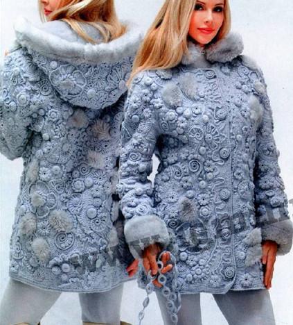 Необыкновенно красивое вязаное пальто в технике фриформ от мастера Ольги Масагутовой: мастер-класс