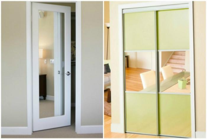 Зеркальные двери помогут визуально расширить пространство в квартире.