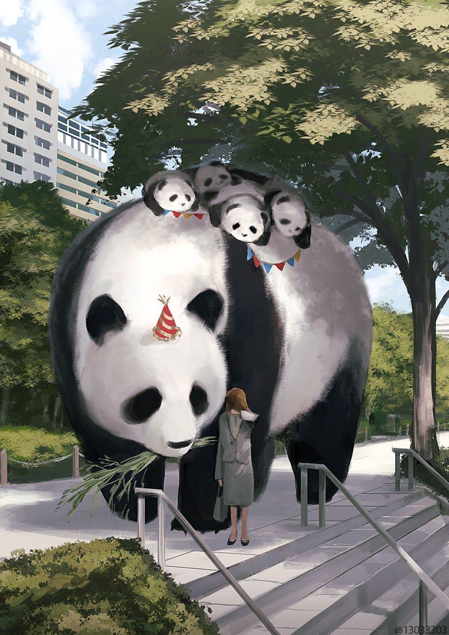 Японский иллюстратор изображает мир, в котором рядом с людьми живут гигантские животные гиганты