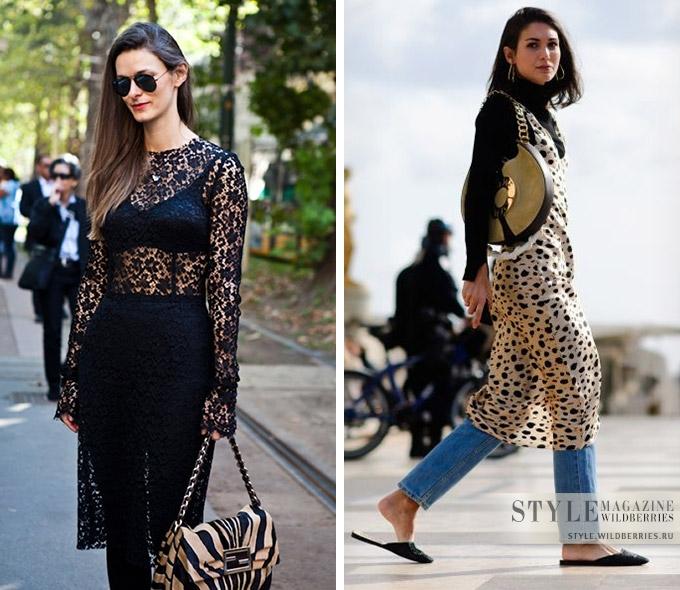 Прозрачное платье + брюки — актуальная пара