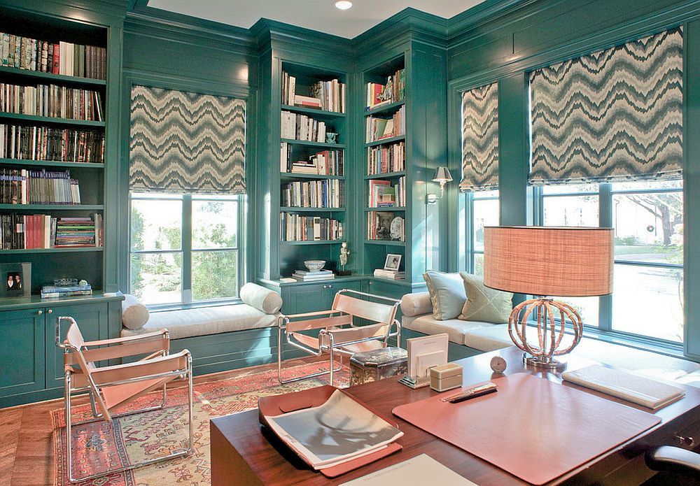 Домашний мини-офис бирюзового цвета