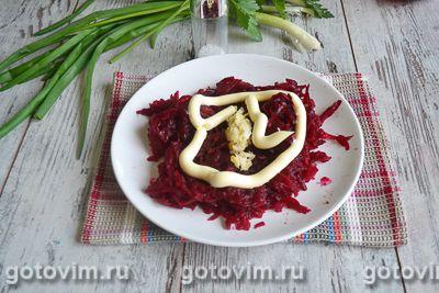 Слоеный салат с блинами «Букет роз», Шаг 06