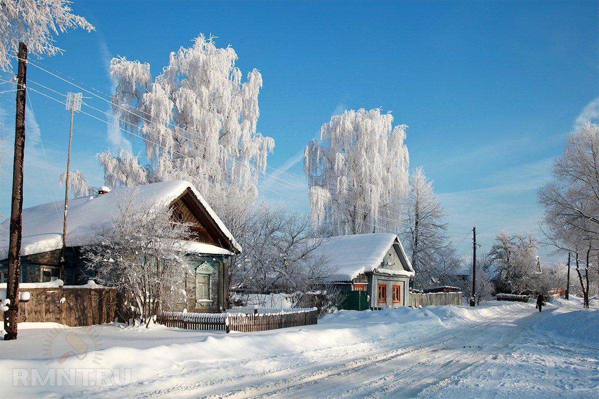 картинки зимнего утра в деревне