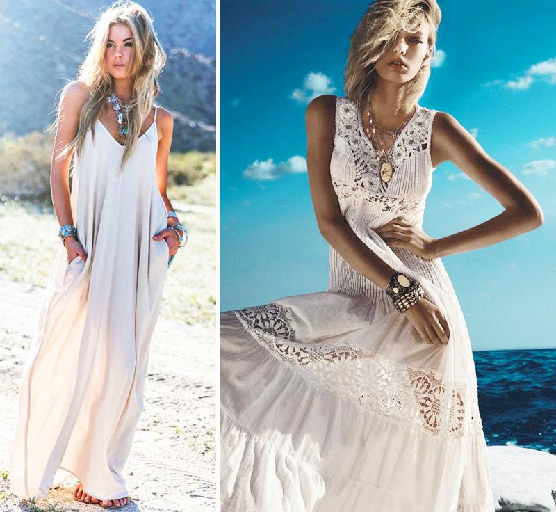 Белые длинные платья