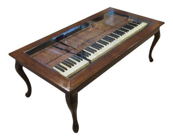 8. Кофейный столик с клавиатурой под стеклом Фабрика идей, переделки, пианино и рояли, своими руками
