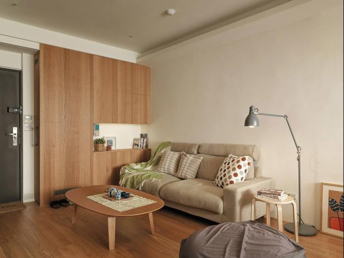 Входная дверь, прихожая и гостиная в небольшой двухкомнатной квартире.