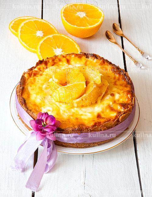 Торт творожный с апельсинами