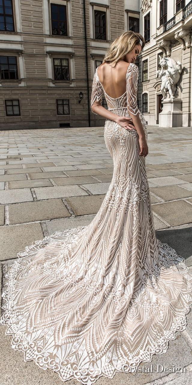 crystal design 2018 half sleeves illusion bateau sweetheart neckline full embellishment elegant fit and flare wedding dress scoop back chapel train (valery) bv