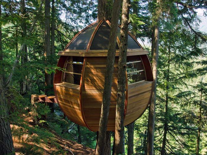 9. The Tree House HemLoft, архитектора Джоэл Аллен. Расположенный в Уистлере Вудс, Канада, этот деревянный яйцевидный дом был построен тайно и о нем узнали лишь после постройки.